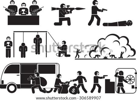 Terrorism and destruction icon set - stock vector