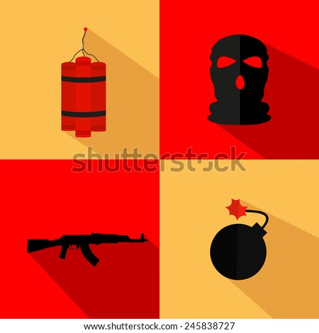 terrorism icons flat design - stock vector