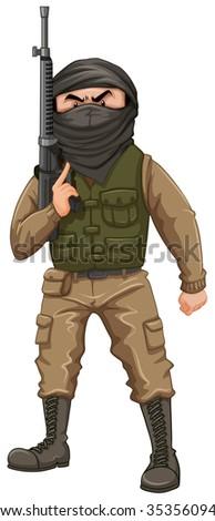 Terrorist carrying a rifle gun illustration - stock vector