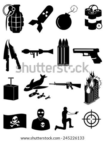 terrorist icons set - stock vector