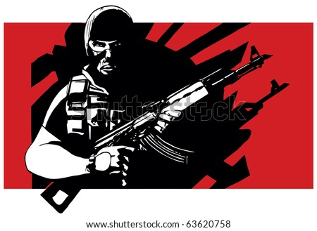 Terrorist with AK-47 rifle and balaclava - stock vector