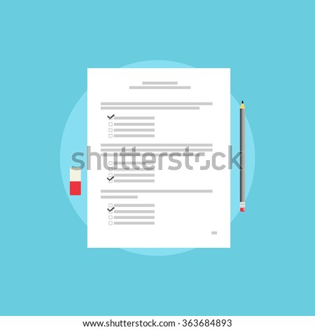 Test paper, exam, or survey concept illustration. School test. School exam.  - stock vector