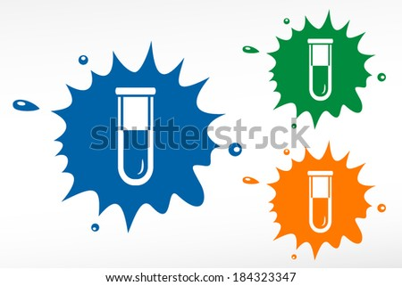 Test tube - color blob. Biochemistry and microbiology equipment.  - stock vector