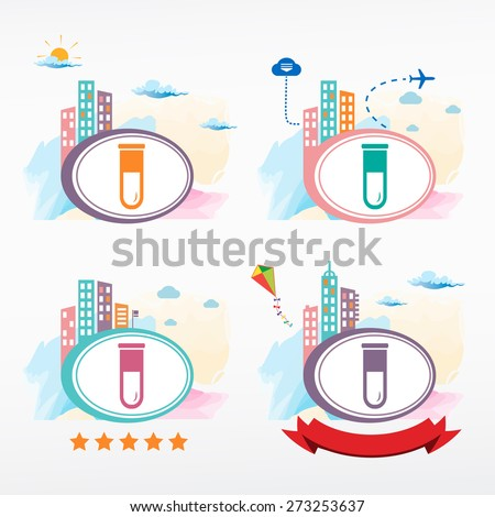 Test tube icon on city background. Cityscape illustration set.    - stock vector