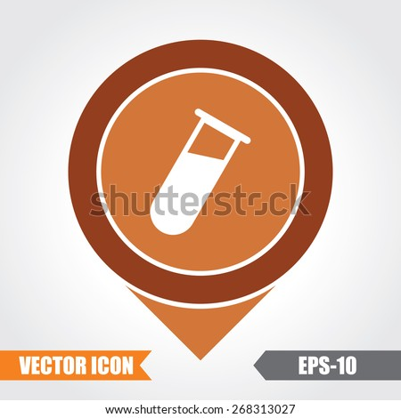 Test Tube Icon On Map Pointer. Eps.-10. - stock vector