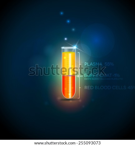 Test tube with blood cells, plasma, buffy coat and red blood cells. Abstract dark blue background. - stock vector