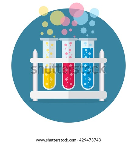 test tubes bubbling sparkling liquid. Science, education, chemistry, experiment, laboratory concept. vector illustration in flat design icon - stock vector