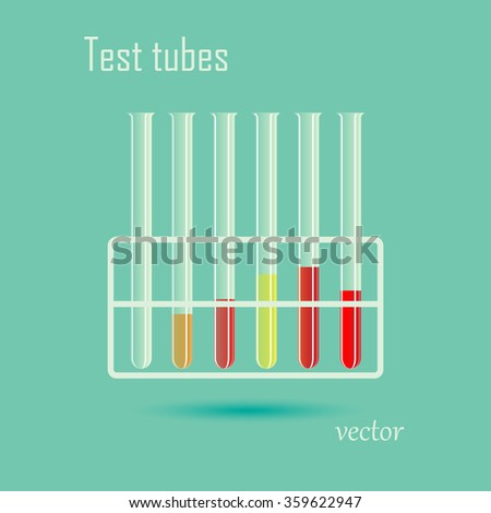Test tubes . Science,  medicine, vector illustration - stock vector
