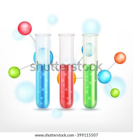 Test-tubes with molecule. Vector icon. EPS10 vector - stock vector