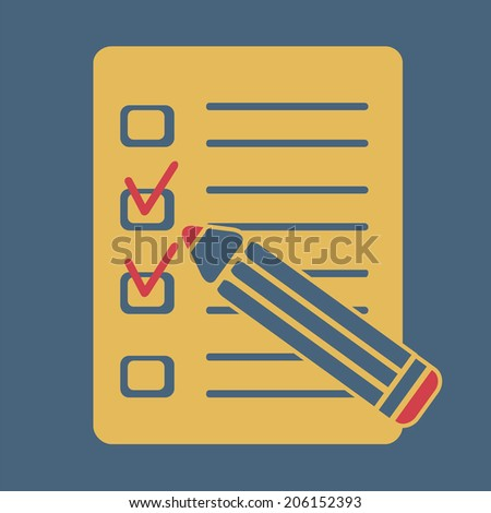 Test with pencil, vector, flat icon (from set Back to school) - stock vector