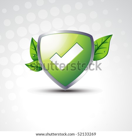 tested vector shield with eco leafs - stock vector