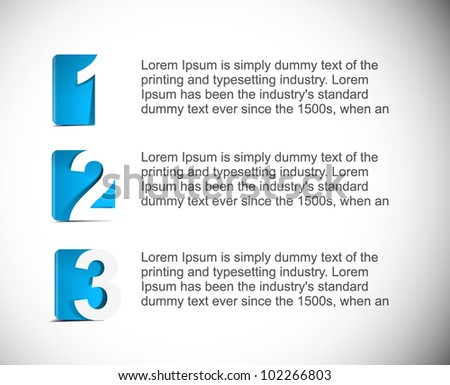Testimonial Design template numbered banners. - stock vector