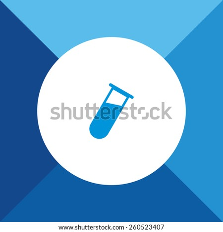 Testing Tube Icon on Blue Background. Eps-10. - stock vector