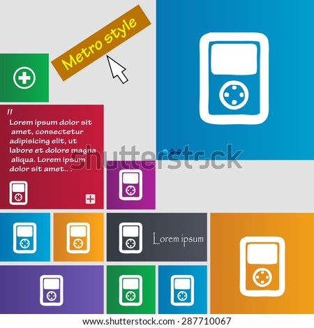 Tetris, video game console icon sign. buttons. Modern interface website buttons with cursor pointer. Vector illustration - stock vector