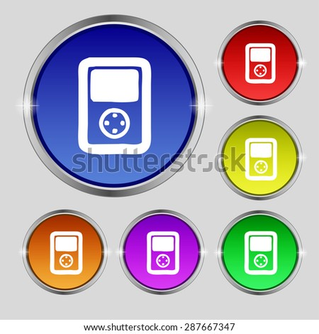 Tetris, video game console icon sign. Round symbol on bright colourful buttons. Vector illustration - stock vector