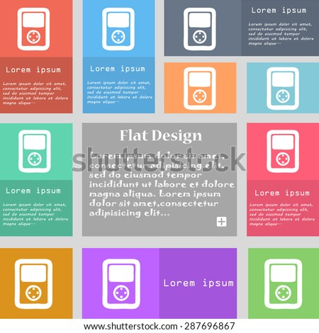 Tetris, video game console icon sign. Set of multicolored buttons with space for text. Vector illustration - stock vector
