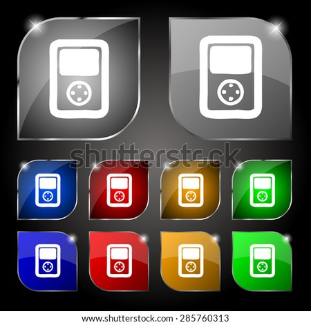 Tetris, video game console icon sign. Set of ten colorful buttons with glare. Vector illustration - stock vector