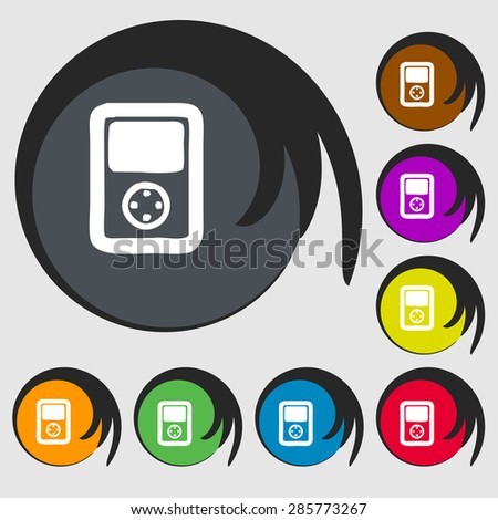 Tetris, video game console icon sign. Symbol on eight colored buttons. Vector illustration - stock vector