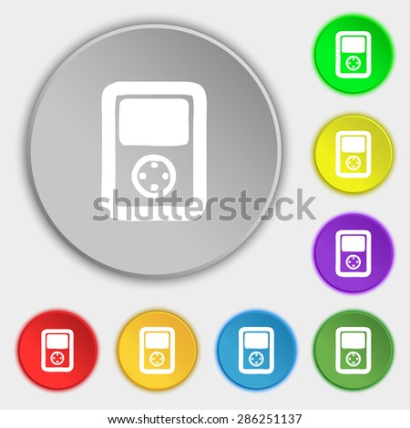 Tetris, video game console icon sign. Symbol on five flat buttons. Vector illustration - stock vector