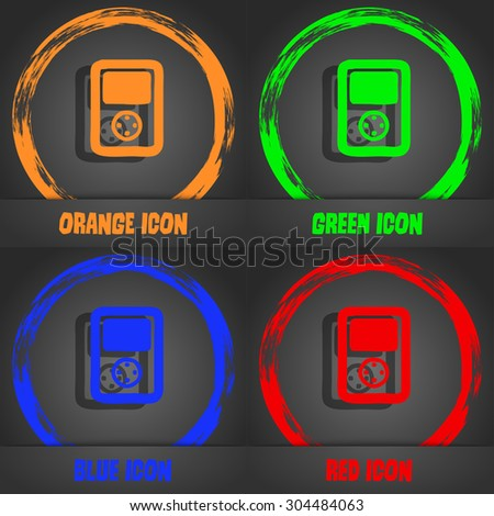 Tetris, video game console icon symbol. Fashionable modern style. In the orange, green, blue, green design. Vector illustration - stock vector