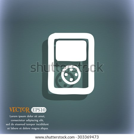 Tetris, video game console icon symbol on the blue-green abstract background with shadow and space for your text. Vector illustration - stock vector