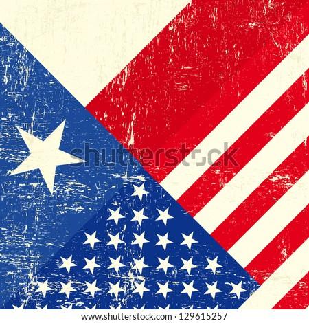 Texas and USA grunge Flag. - stock vector