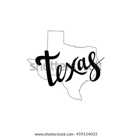 Texas brush lettering. Silhouette Map of Texas on a white background. Vector illustration. Isolated elements - stock vector