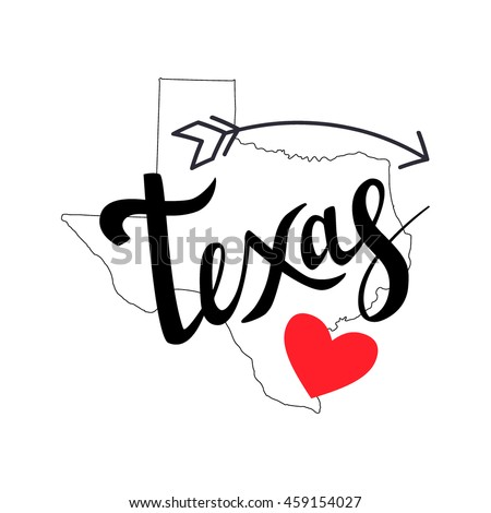 Texas brush lettering with arrow and heart on white background. Silhouette Map of Texas. Vector illustration. Isolated elements - stock vector