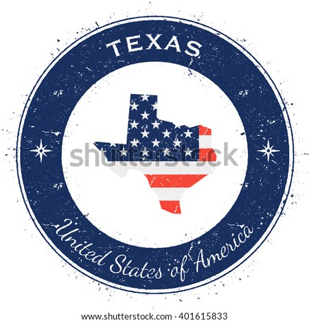 Texas circular patriotic badge. Grunge rubber stamp with USA state flag, map and the Texas written along circle border, vector illustration. - stock vector