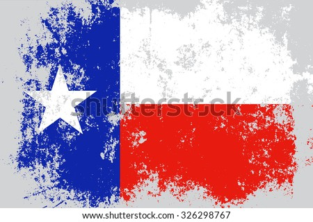 Texas grunge,damaged,scratch,old style state flag. - stock vector