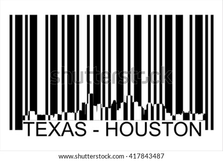 Texas Houston city silhouette  barcode - stock vector