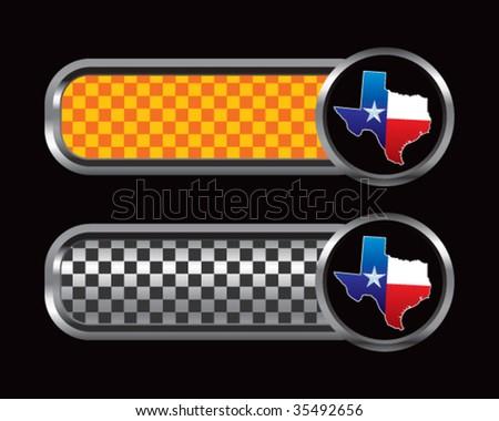 Texas lonestar state on diamond textured tabs - stock vector