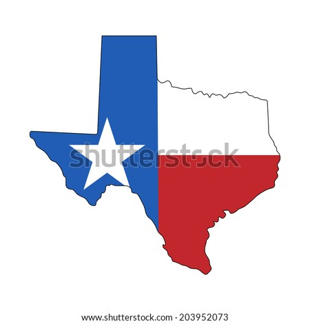 Texas map with flag isolated on white background. Vector - stock vector