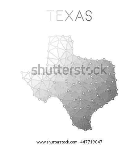 Texas polygonal vector map. Molecular structure US state map design. Network connections polygonal Texas map in geometric style for your infographics. - stock vector