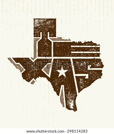 Texas State Creative Vector Typography Lettering Composition On Grunge Distressed Background - stock vector