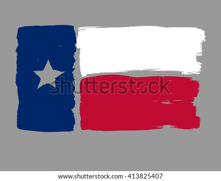 Texas State Flag with colored hand drawn lines in Vector Format - stock vector