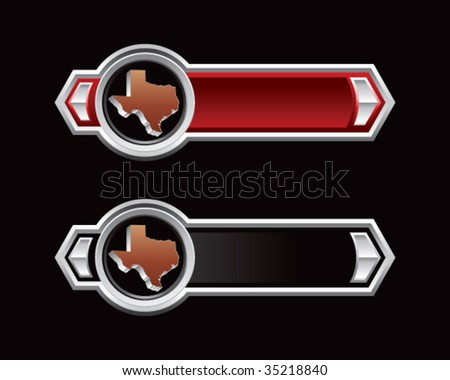 texas state on red and blue tabs - stock vector