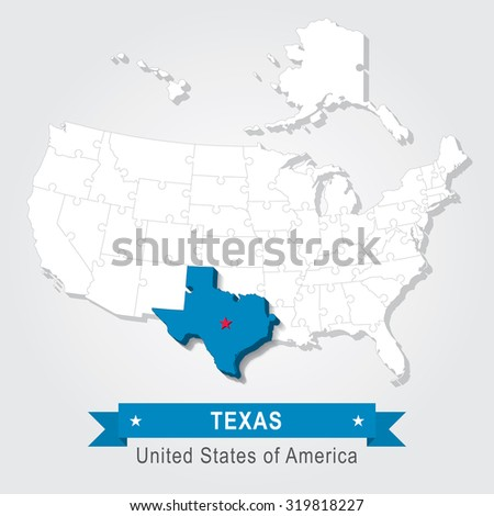 Texas state. USA administrative map. - stock vector