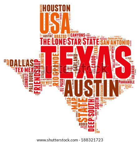 Texas USA state map tag cloud vector illustration - stock vector