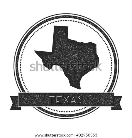Texas vector map stamp. Retro distressed insignia with US state map. Hipster round rubber stamp with Texas state text banner, USA state map vector illustration. - stock vector