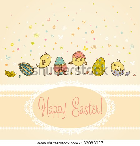 Text background with hand drawn cute illustration for Easter greeting with colorful ornamental eggs and little chicken and place for your text. Template for design and scrapbooking - stock vector