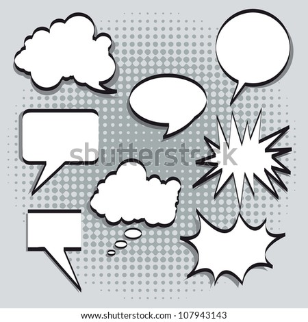 Text balloons in comic style on gray background. vector illustration - stock vector