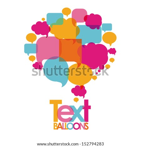 text balloons over white background  vector illustration - stock vector