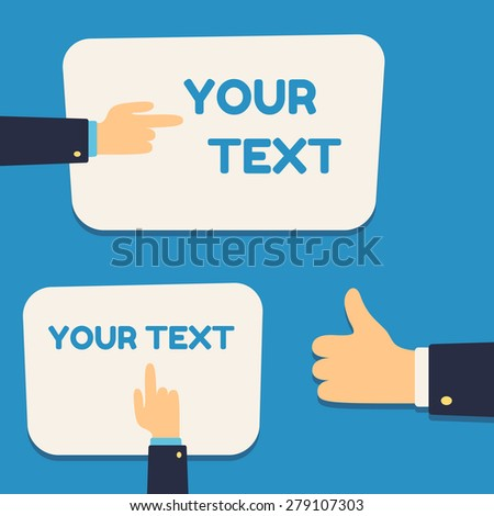 """Text banner template set with pointing cartoon hands and """"like"""" thumb up hand gesture. - stock vector"""
