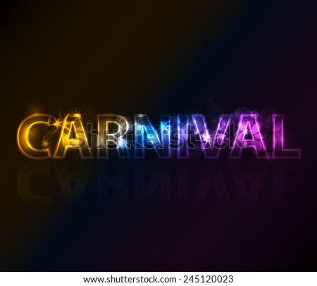 Text carnival in dark - stock vector