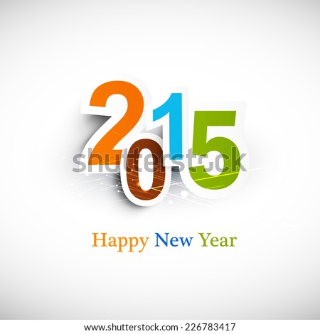 Text for new year 2015 vector colorful design - stock vector