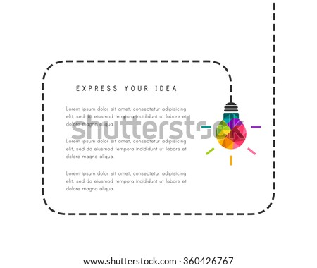 Text frame template with low poly lightbulb as creative idea concept - stock vector