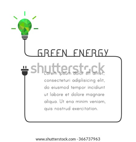 Text frame with green energy concept. Template with lightbulb and wire. - stock vector