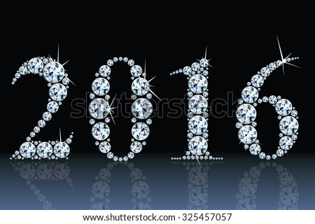 text from diamonds 2016, eps10 vector - stock vector