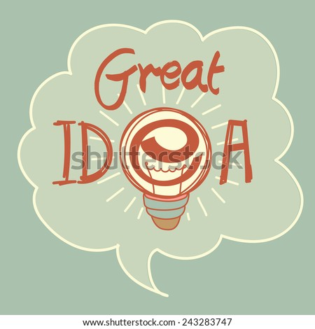 """Text """"Great Idea"""" - conceptual sign with light bulb in thought bubble.Hand drawing. - stock vector"""